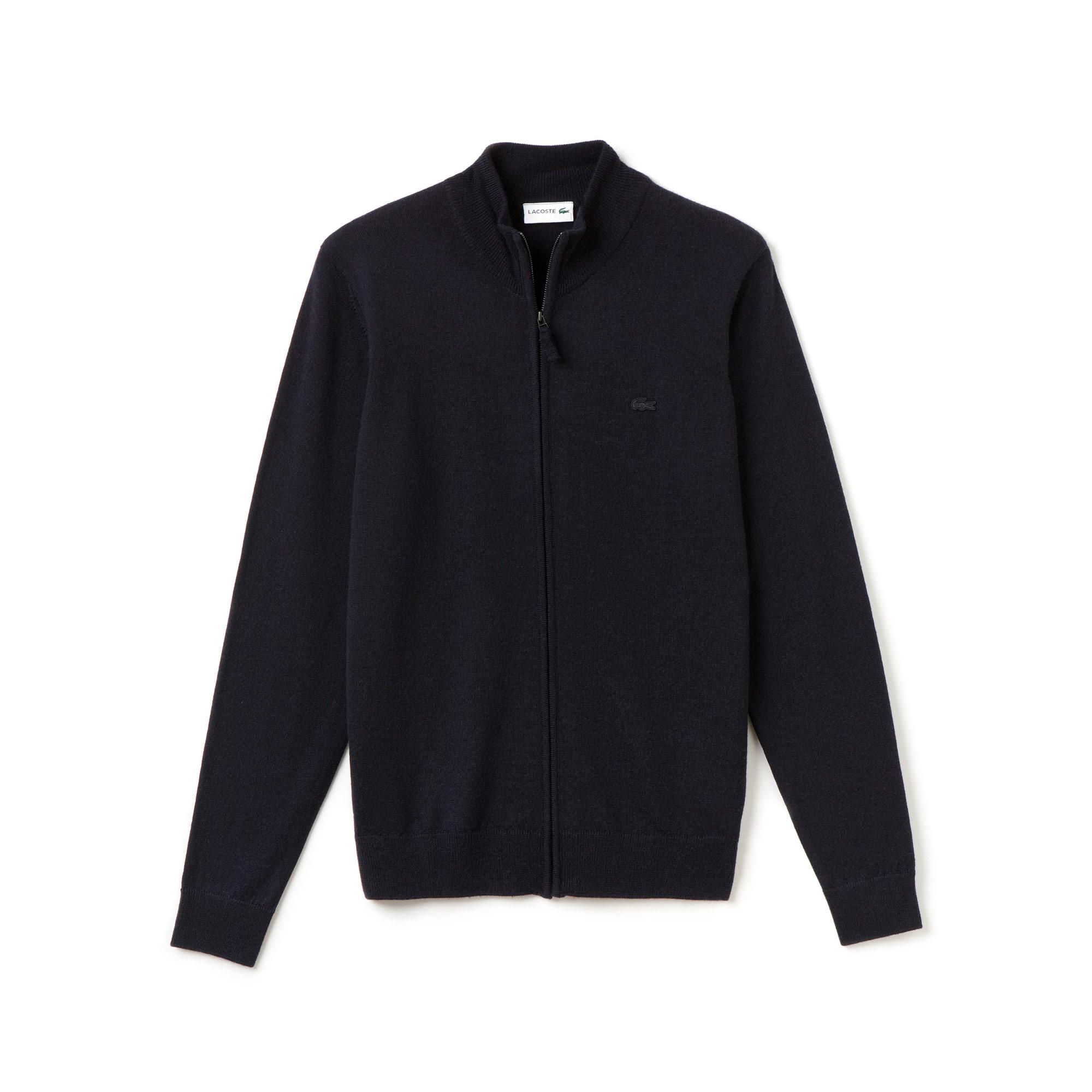 Lacoste Men's Stand-Up Collar Wool Jersey Zippered Cardigan