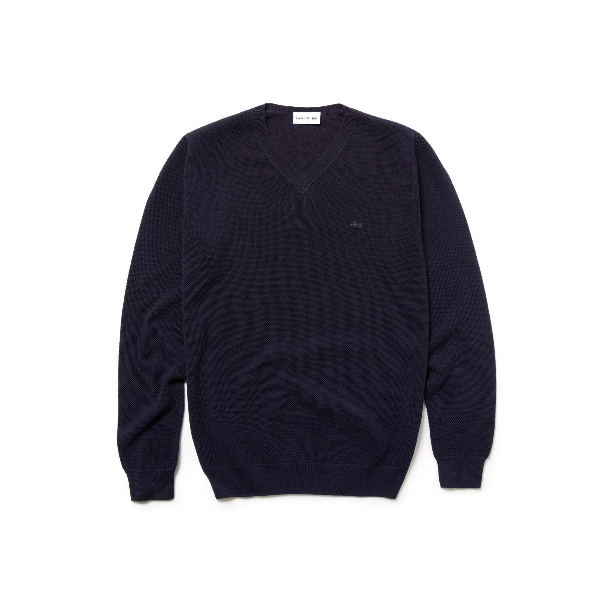 Lacoste Men's V-Neck Cotton Piqué Sweater