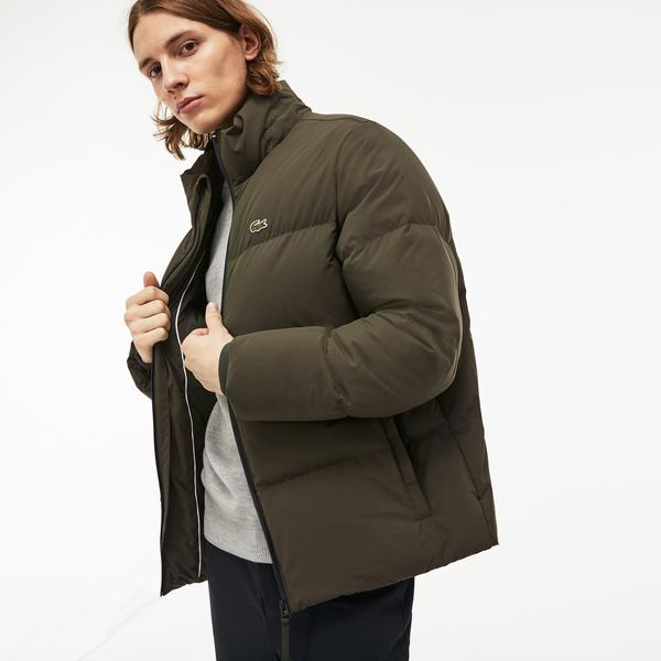 Lacoste Men's Detachable Hood Down Water-Resistant Taffeta Jacket