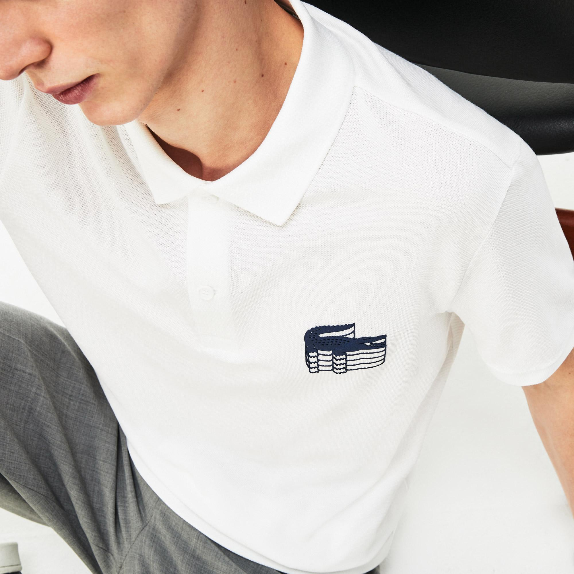 Lacoste Men's Slim Fit 3D Croc Cotton Petit Piqué Polo