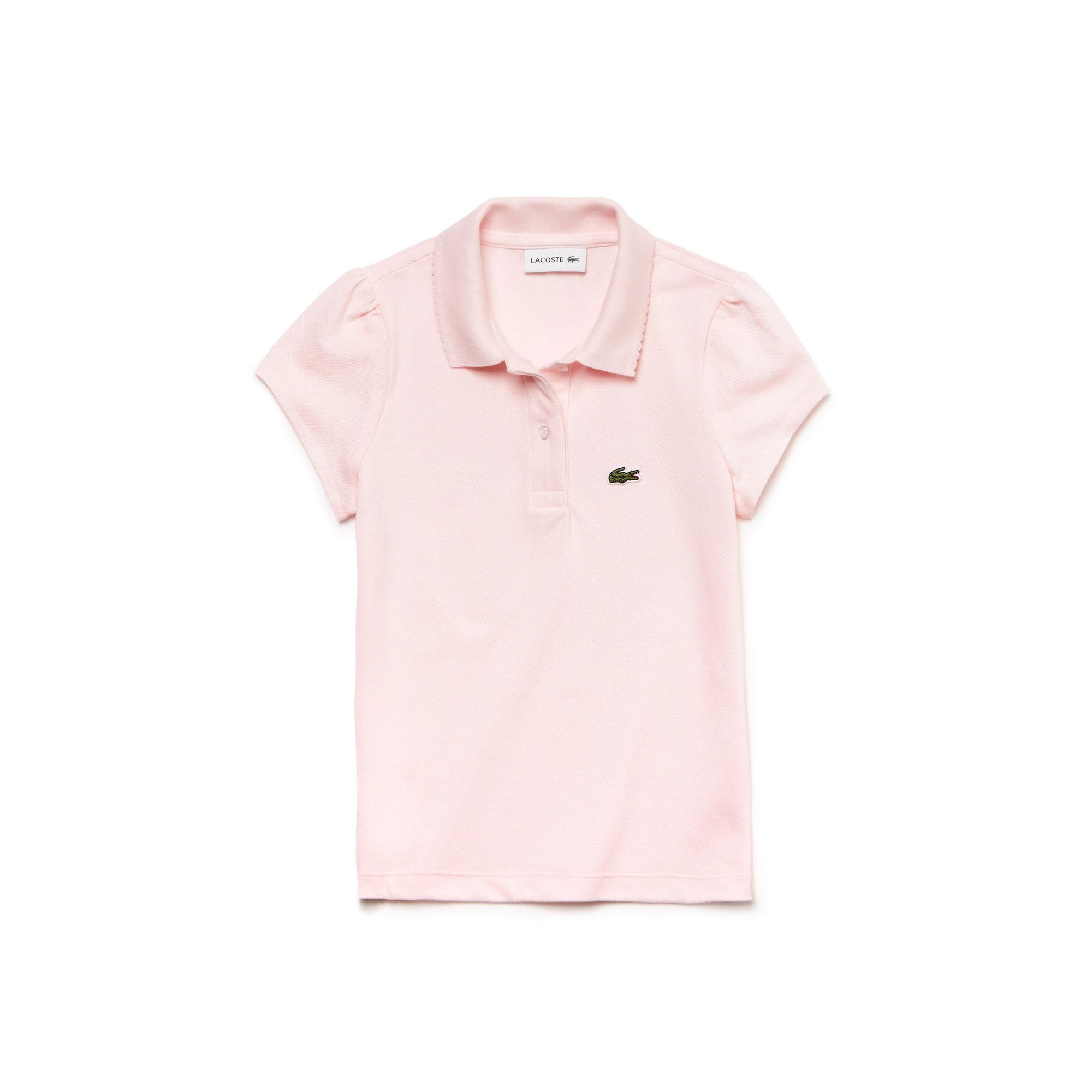 Lacoste Girls' Scalloped Collar Mini Piqué Polo Shirt