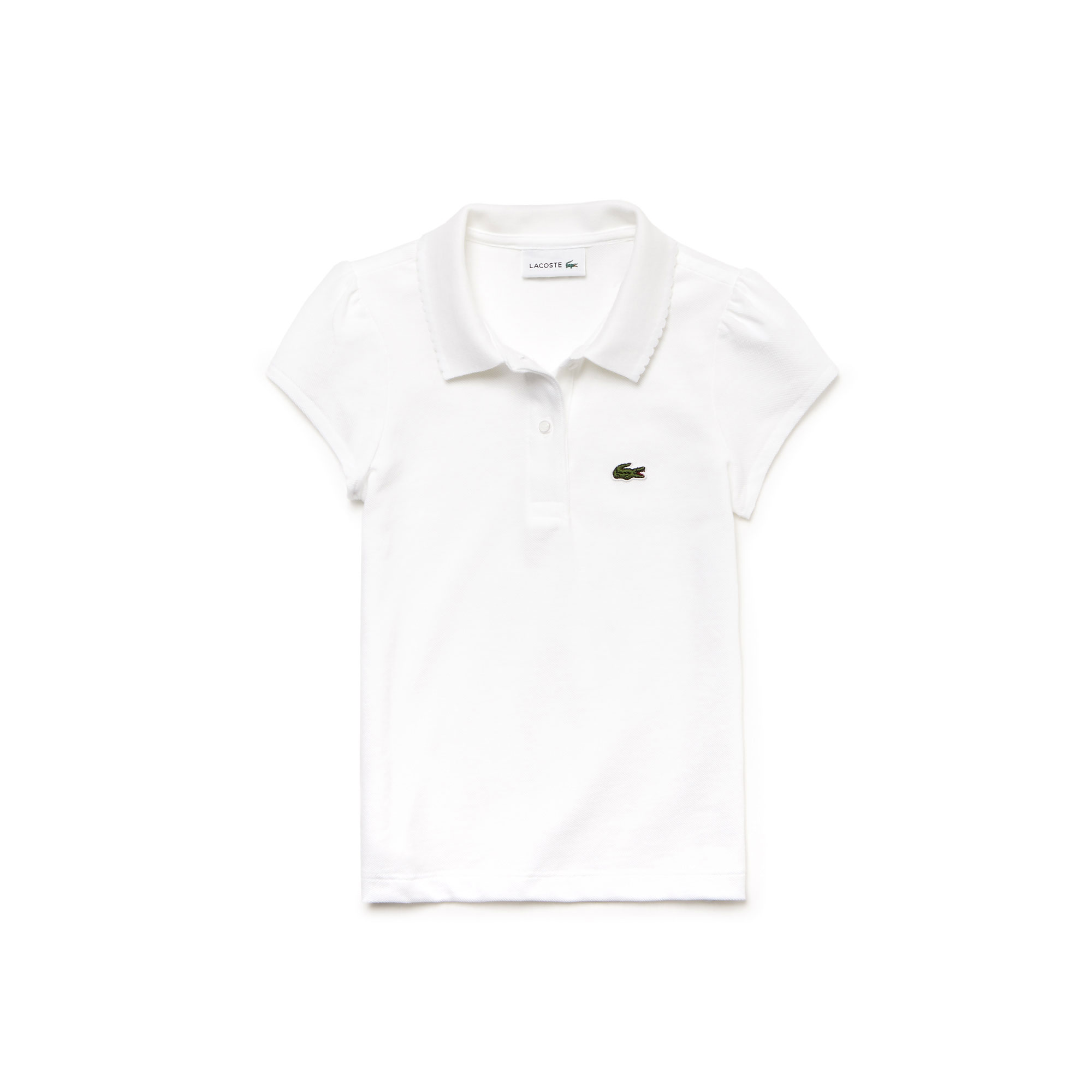 Lacoste Girls' Scalloped Collar Mini Piqué Polo