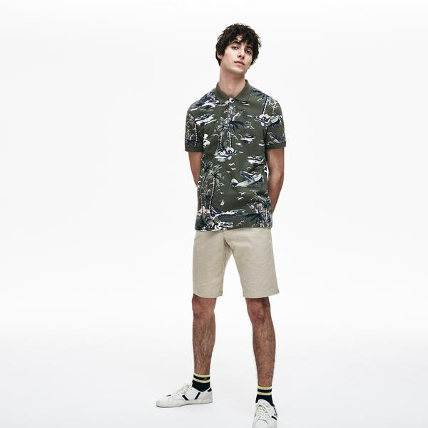Lacoste Men's Regular Fit Hawaiian Print Cotton Mini Piqué Polo
