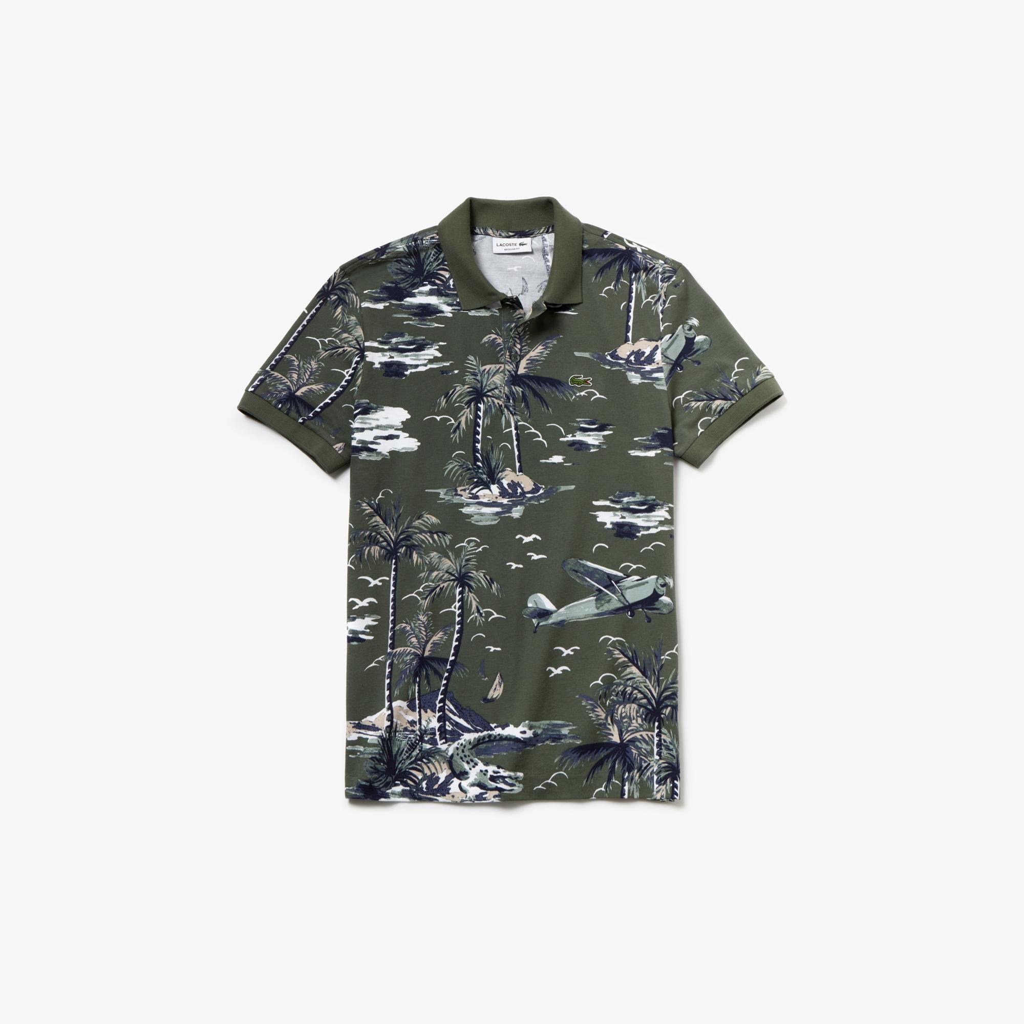 Lacoste Men's Regular Fit Hawaiian Print Cotton Mini Piqué Polo