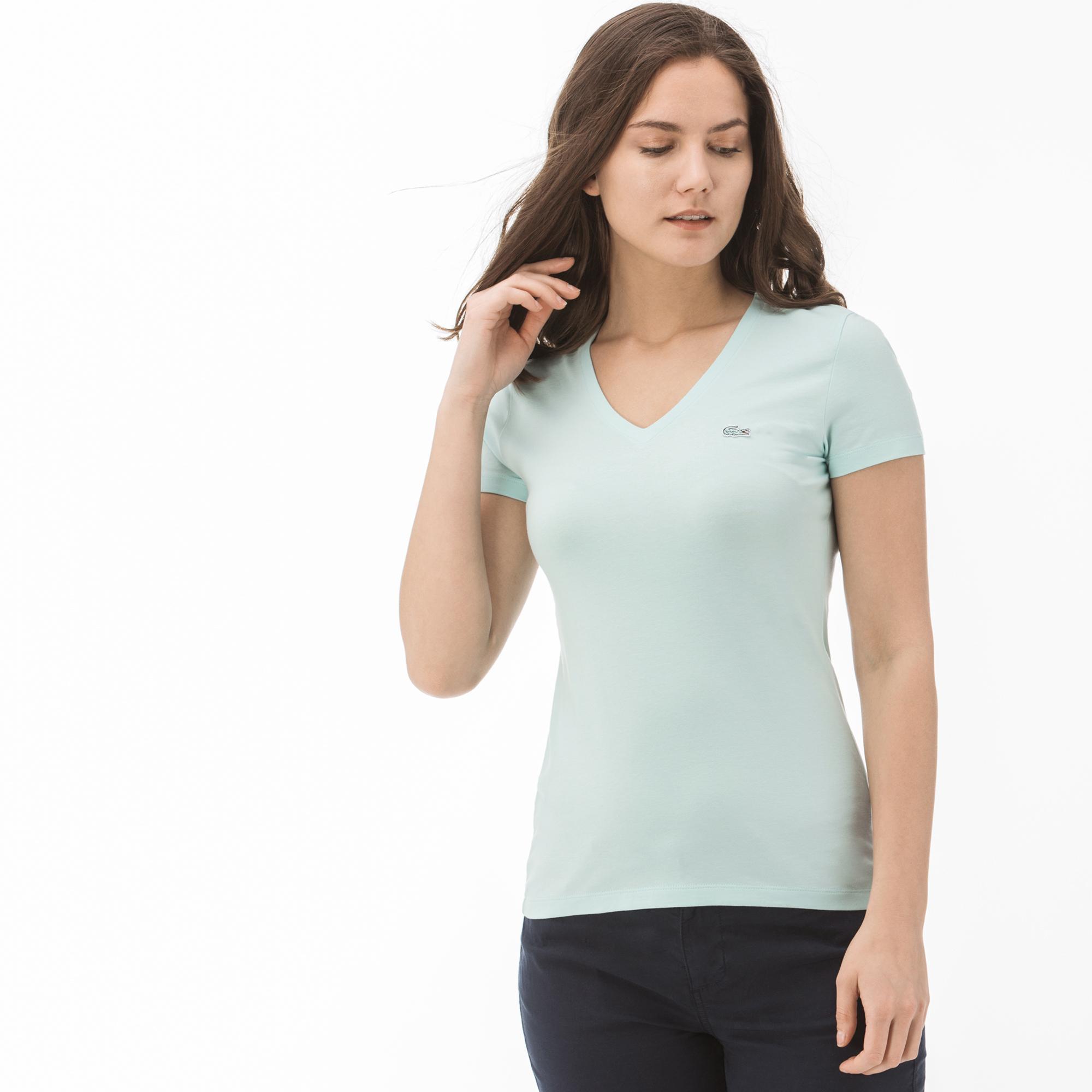 Lacoste футболка жіноча з V-вирізом