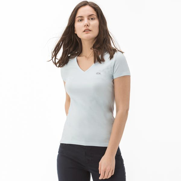 Lacoste Women's V Neck Slim Fit T-Shirt