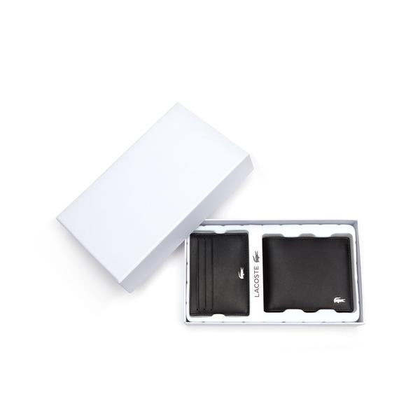 Lacoste Men's Fitzgerald Leather Wallet And Card Holder Set
