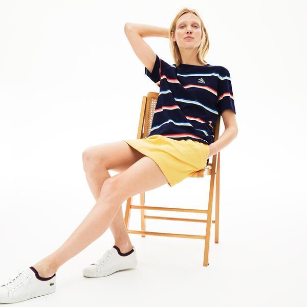Lacoste Women's Wide Neck Striped Jersey T-Shirt