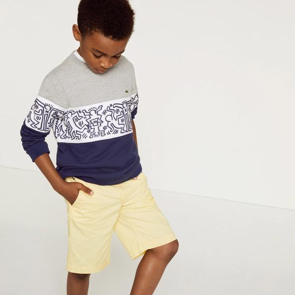 Lacoste X Keith Haring Boys' Print Crew Neck Colourblock Fleece Sweatshirts