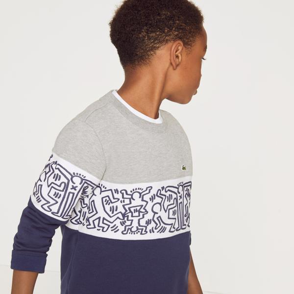 Lacoste X Keith Haring Boys' Print Crew Neck Colourblock Fleece Sweatshirt