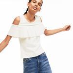 Lacoste L!VE Women's Cutout Flounced Cotton Blend T-Shirt