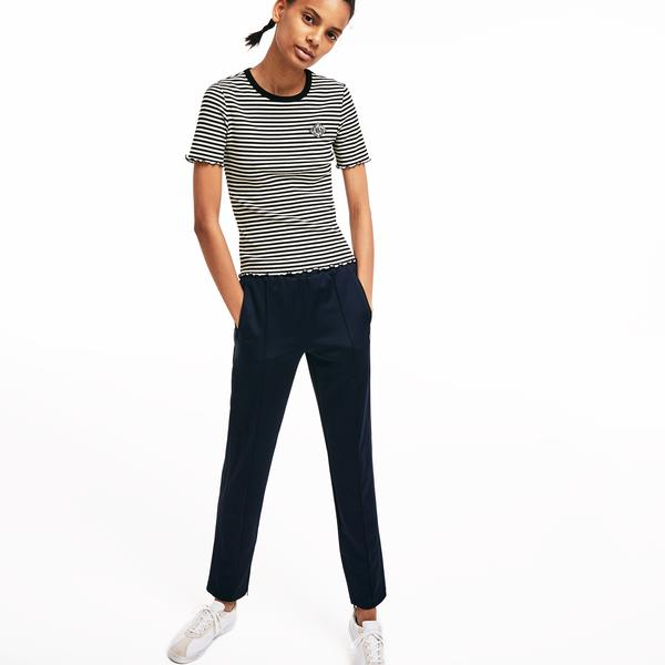 Lacoste L!VE Women's Crew Neck Striped Ribbed Cotton T-Shirt