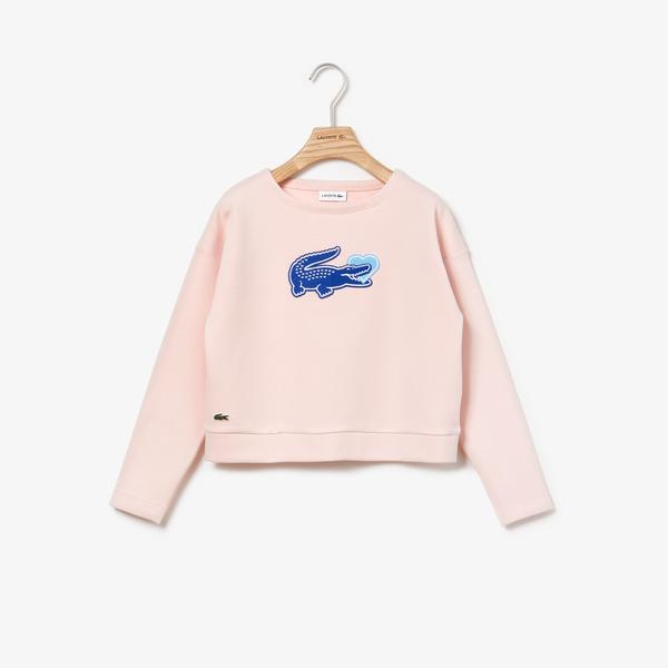 Lacoste Girls' Oversized Crocodile Stretch Fleece Sweatshirt