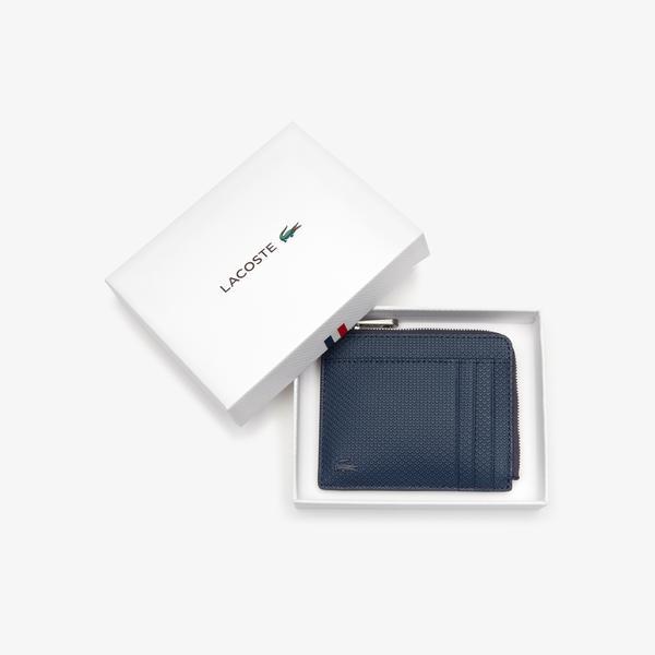 Lacoste Men's Chantaco Matte Piqué Leather Zip 4 Card Holder