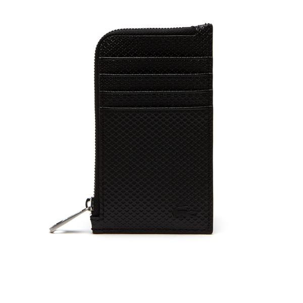 Lacoste Men's Chantaco Zippered Matte Piqué Leather Card Holder
