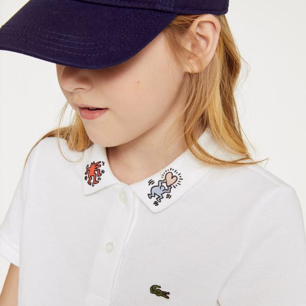 Lacoste Girls' Keith Haring Print Cotton Petit Piqué Polo