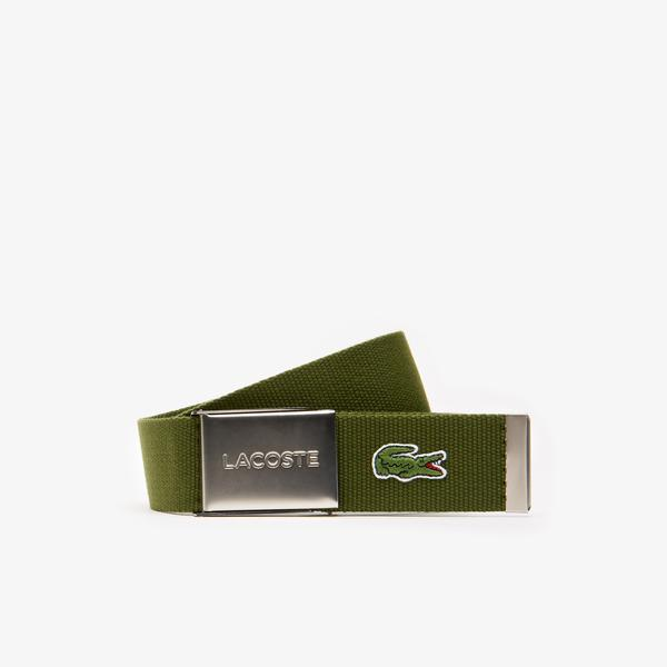 Lacoste Men's Made in France Lacoste Engraved Buckle Woven Fabric Belt