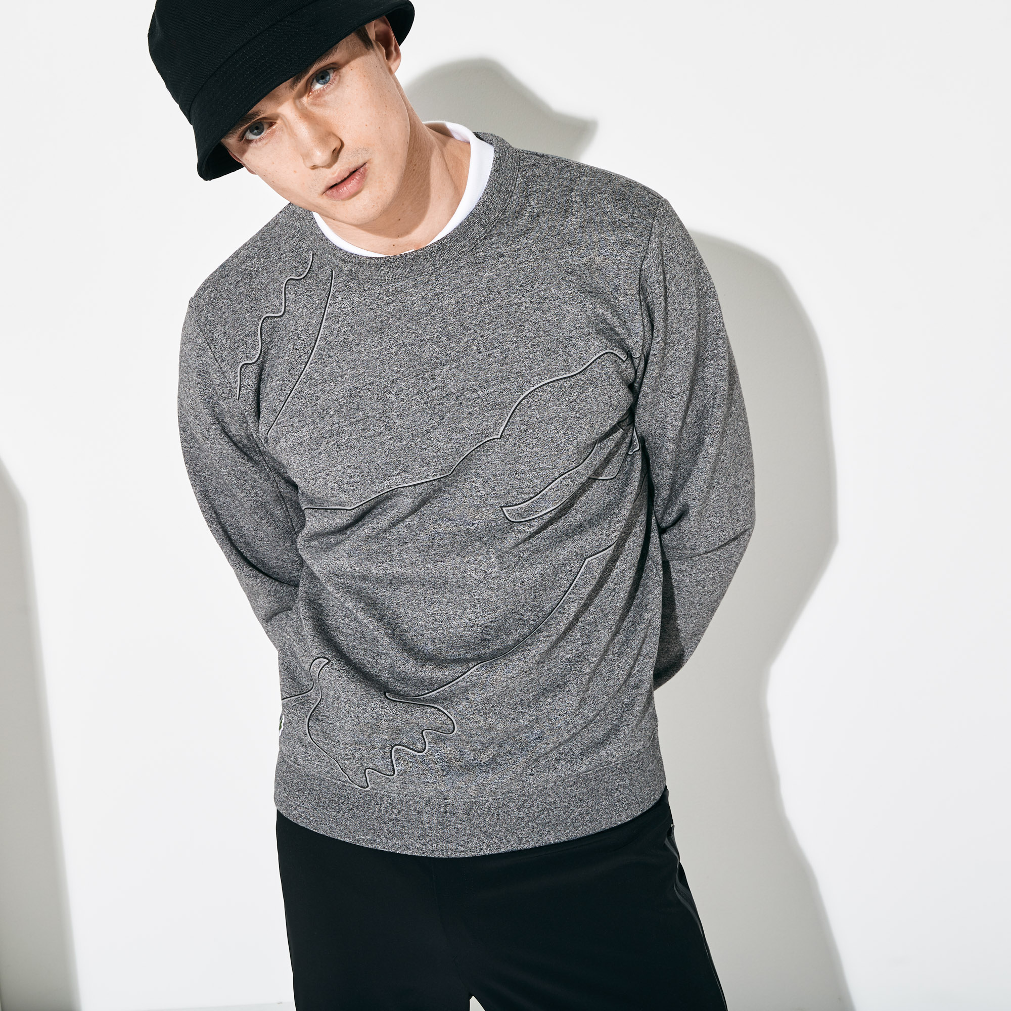 Lacoste Men's SPORT Oversized Croc Brushed Fleece Sweatshirt
