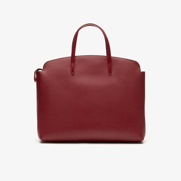 Lacoste Women's Chantaco Piqué Leather Zip Pocket Tote Bag