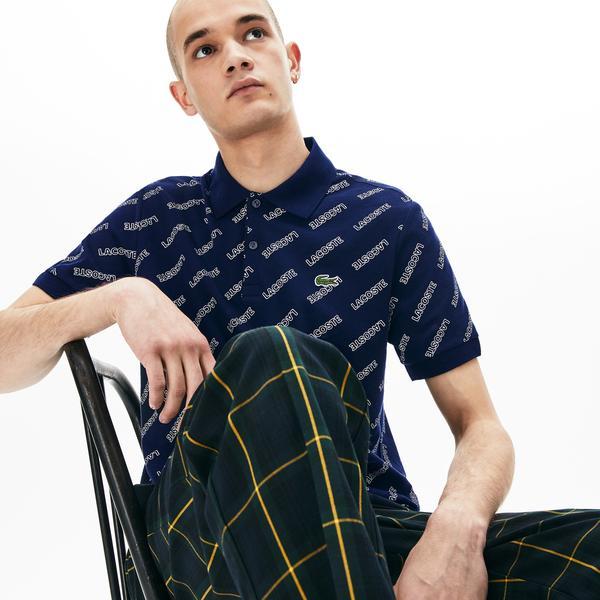 Lacoste LIVE Men's Slim Fit Signature Print Cotton Piqué Polo Shirts