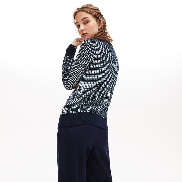 Lacoste Women's Boat Neck Check Cotton Jacquard Sweater
