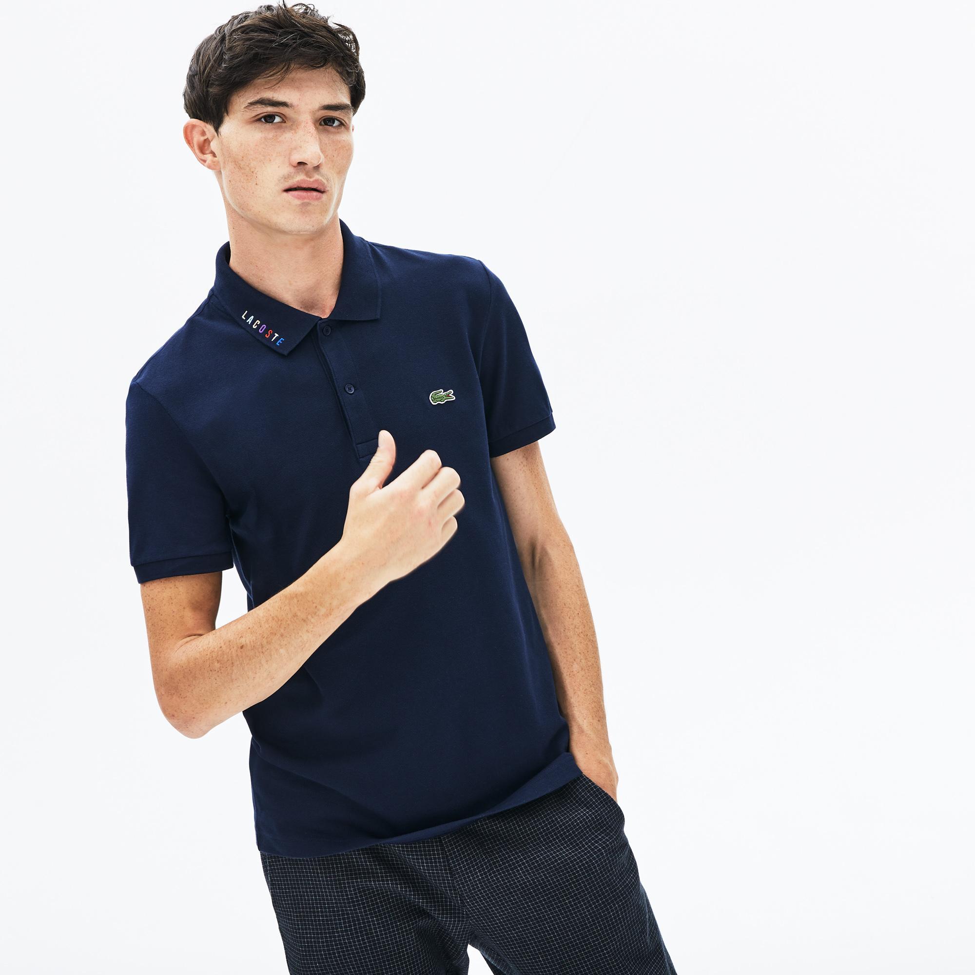 Lacoste Men's Slim Fit Multicoloured Signature Stretch Piqué Polo Shirt