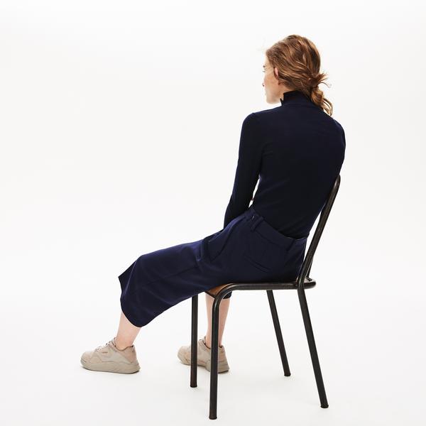 Lacoste Women's Notched Turtleneck Wool Sweater