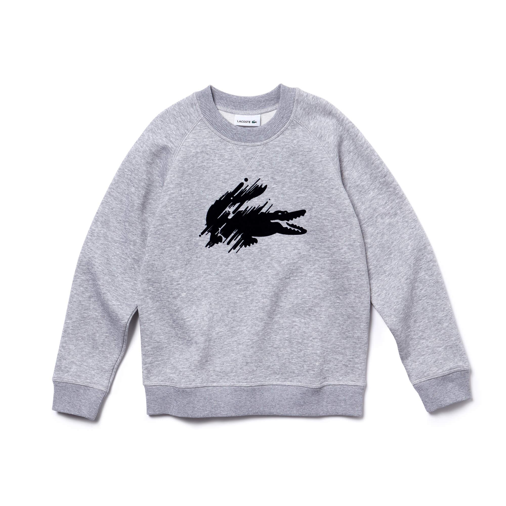 Lacoste Boys' Flocked Crocodile Fleece Sweatshirt