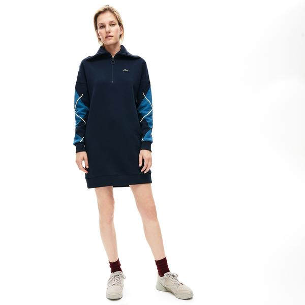 Lacoste Women's Made In France Jacquard Patterned Fleece Sweatshirt Dress