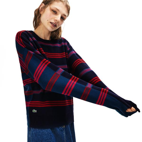Lacoste Women's Crew Neck Two-Ply Striped Piqué And Jersey Sweater