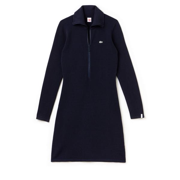 Lacoste L!VE Women's Zip Stand-Up Collar Sweatshirt Dress