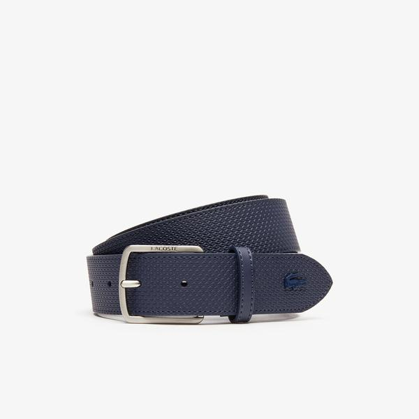 Lacoste Men's Engraved Buckle Texturised Leather Belt