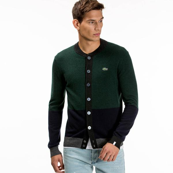 Lacoste L!VE Men's Bomber Neck Colourblock Wool Jersey Cardigan