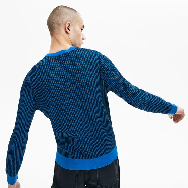 Lacoste L!VE Men's Crew Neck Textured Wool And Cashmere Blend Sweater