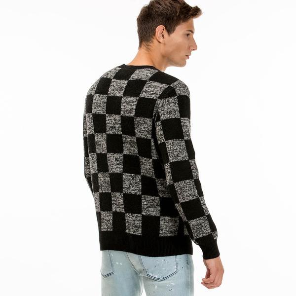 Lacoste L!VE Men's Checkerboard Print Wool Jacquard Sweater