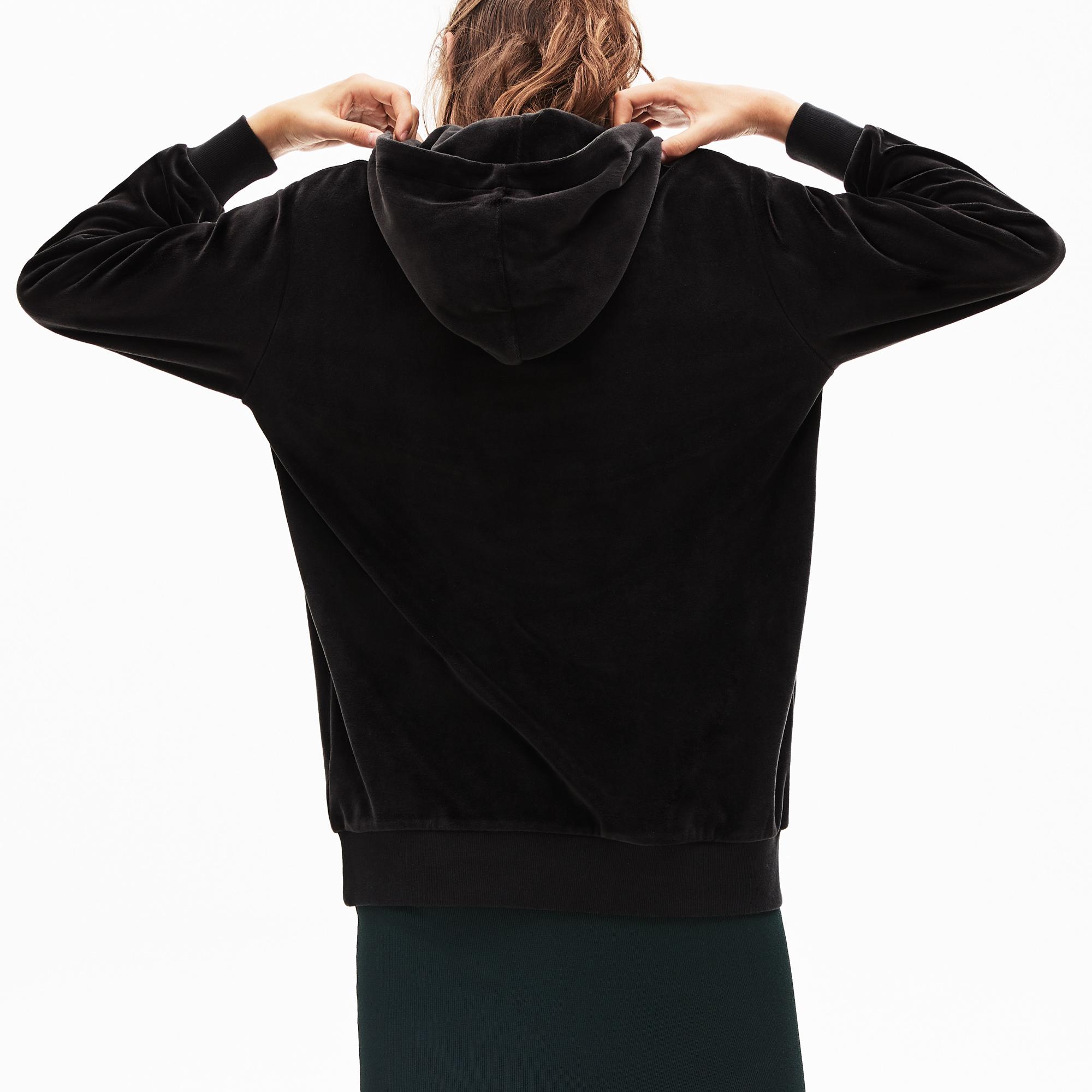 Lacoste L!VE Women's Golden Signature Hooded Velvet Sweatshirt