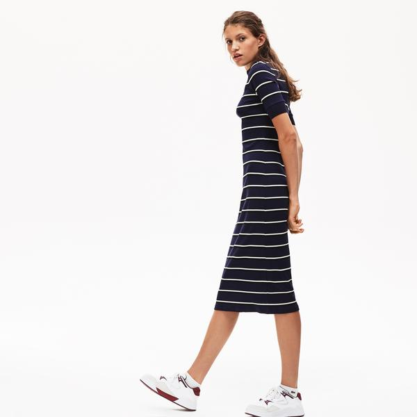Lacoste LIVE Women's Striped Ribbed Knit Tube Dress