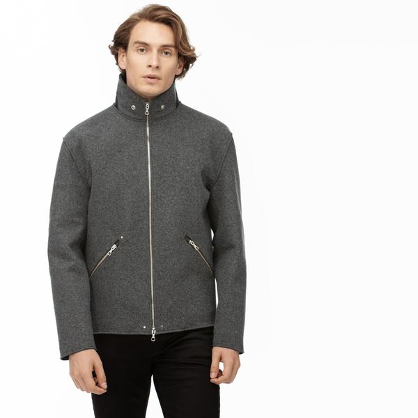 Lacoste Men's Premium Wool And Leather Accent Zip Jacket