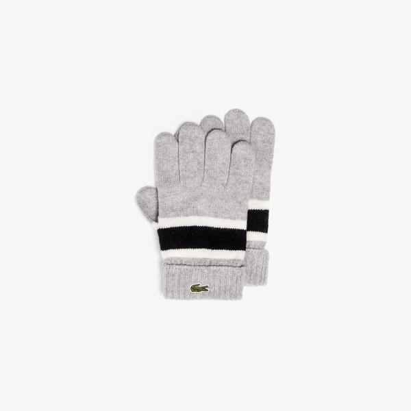 Lacoste Men's Contrast Striped Ribbed Wool Gloves