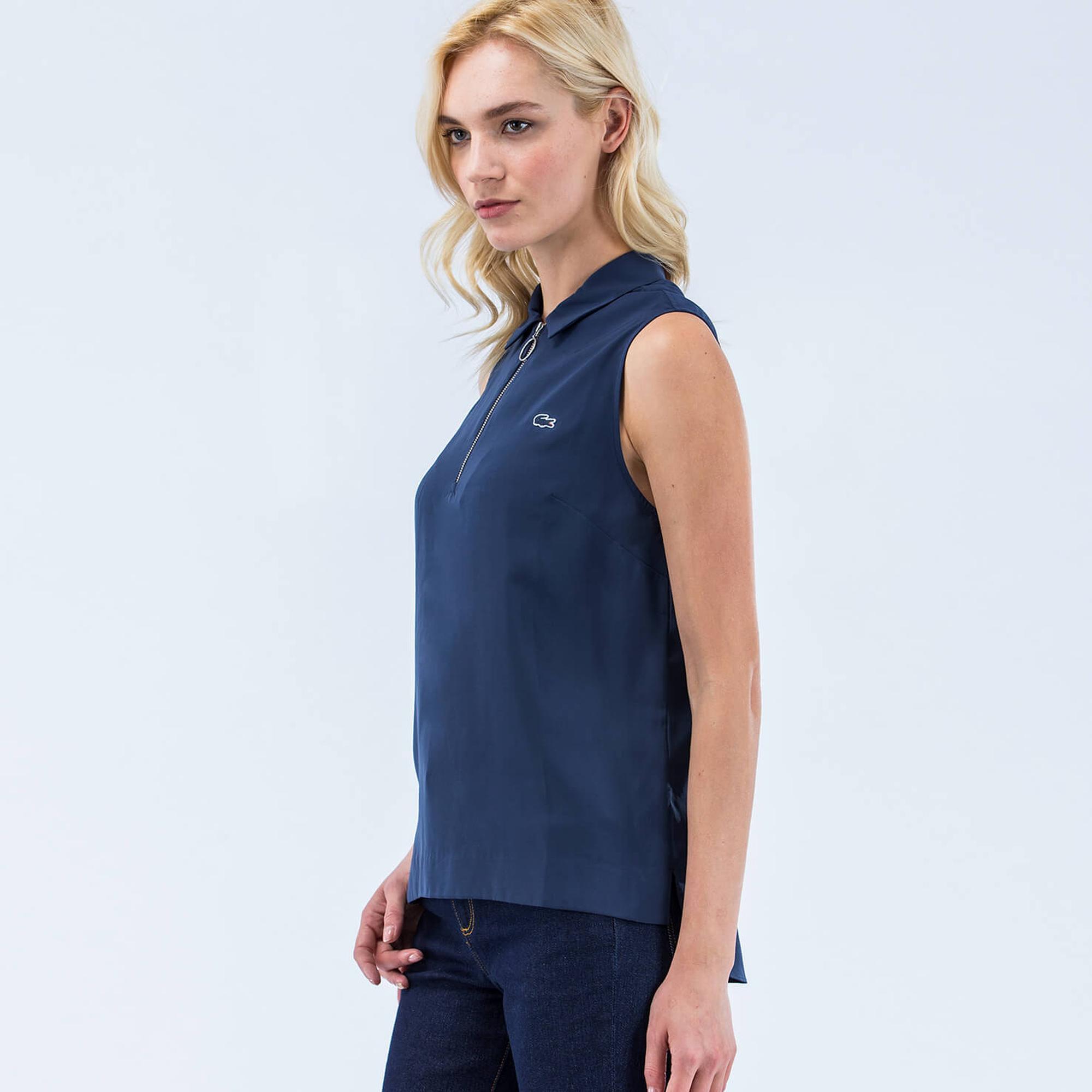 Lacoste Women's L!VE Voile Zip Neck Top