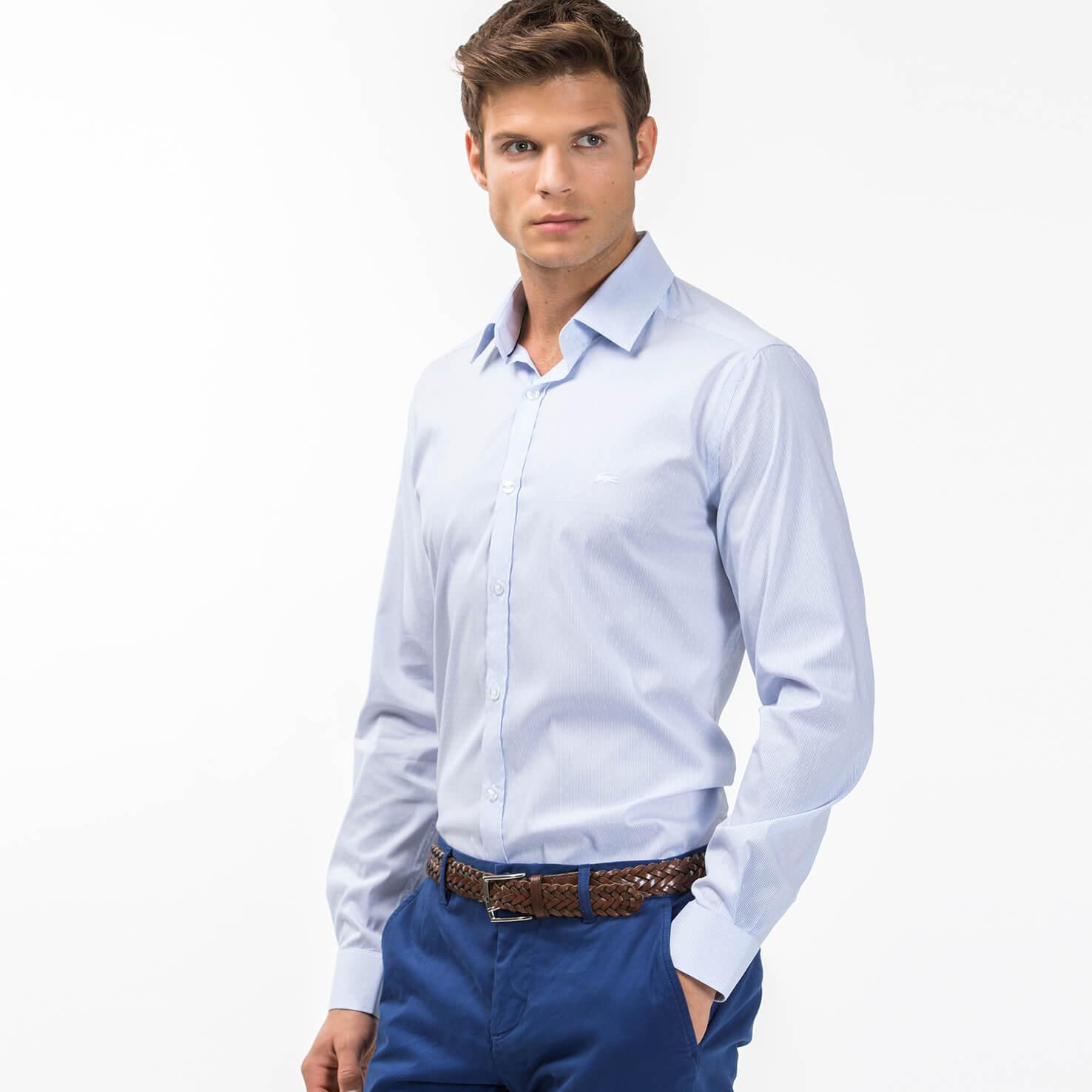 Lacoste Men's Slim Fit Polka Dots And Stripes Jacquard Poplin Shirt