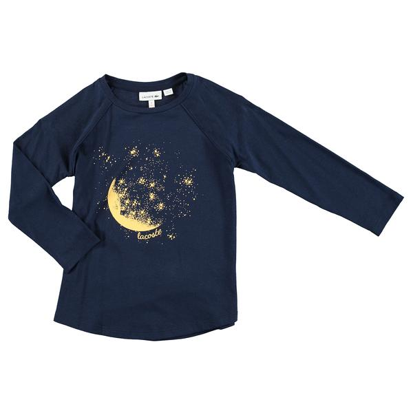 Lacoste Kids' Crew Neck T-Shirt In Print Jersey