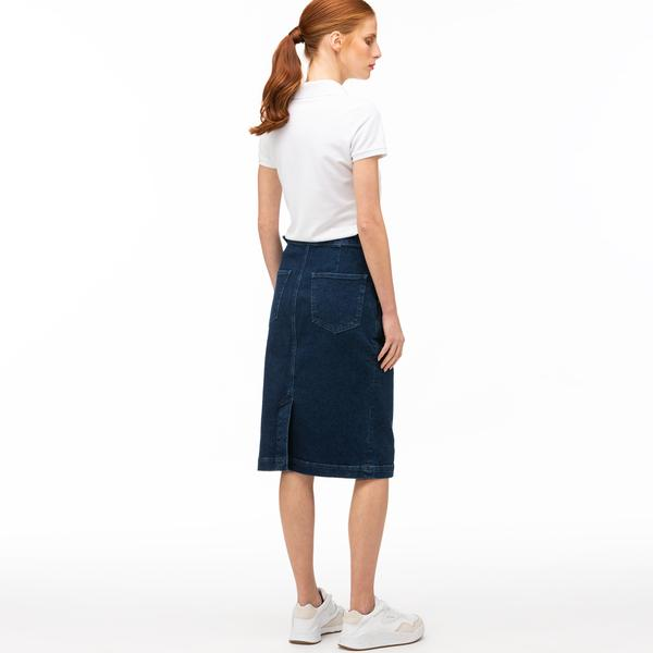 Lacoste Women's Straight Mid-Length Denim Skirt