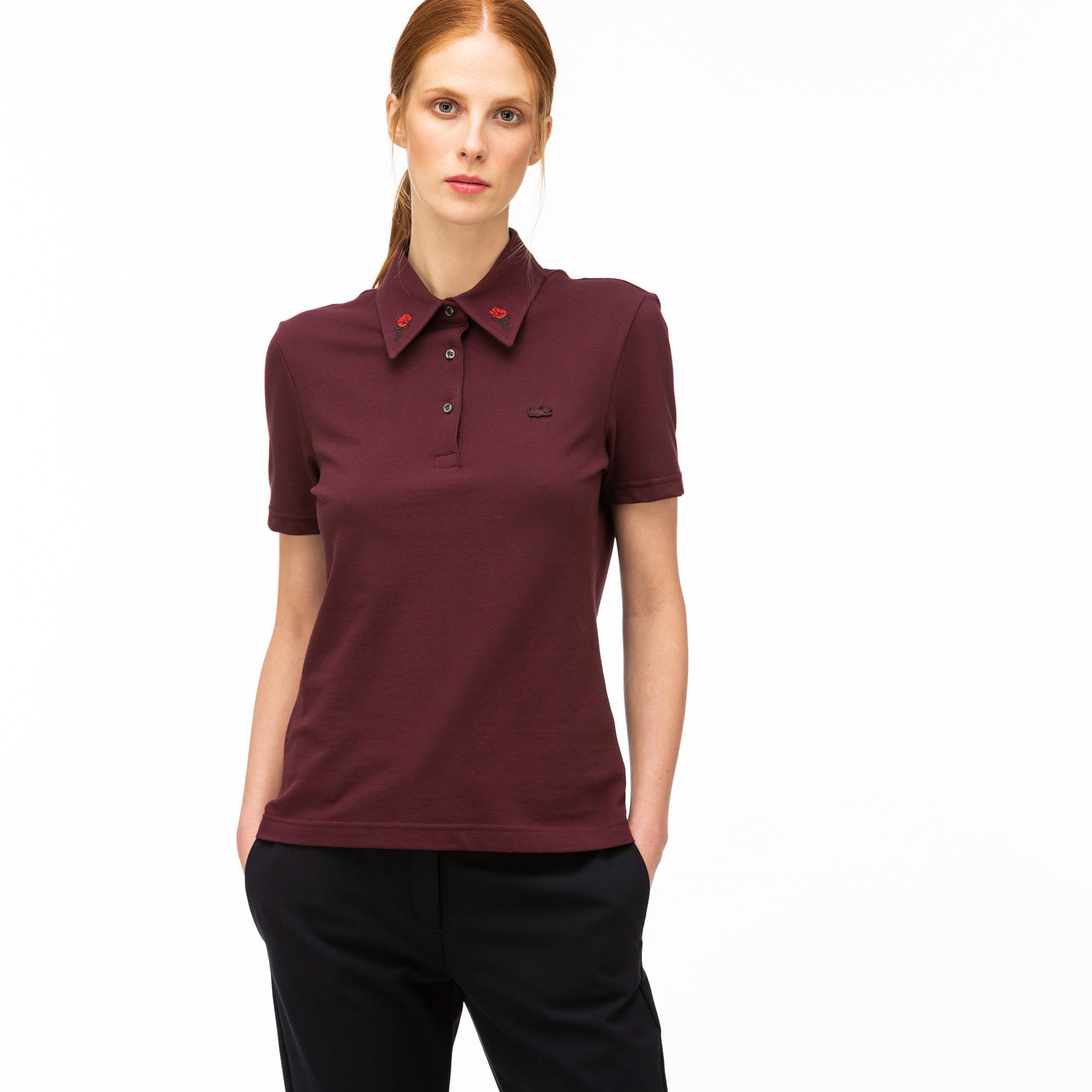 Lacoste L!VE Women's Slim Fit Embroidered Collar Stretch Polo Shirt