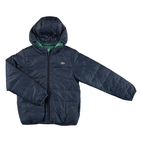 Lacoste Kids Quilted Hooded Down Jacket In Mini Ripstop