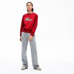 Lacoste Women's Crew Neck Multi Croc Badge Fleece Sweatshirt