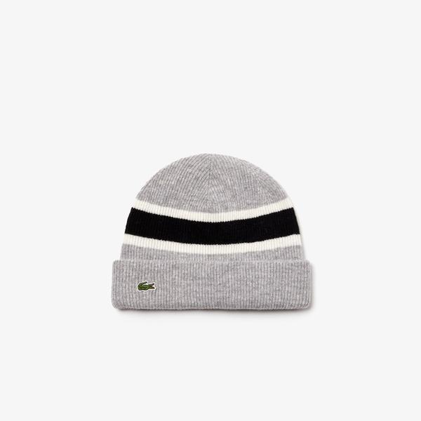 Lacoste Men's Contrast Striped Ribbed Wool Beanie