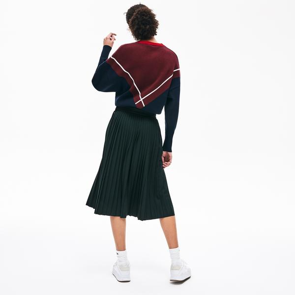 Lacoste Women's Pleated Flannel Mid-Length Skirt