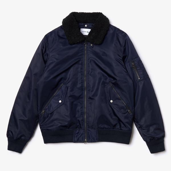 Lacoste Men's Sherpa Collar Padded Bomber Jacket