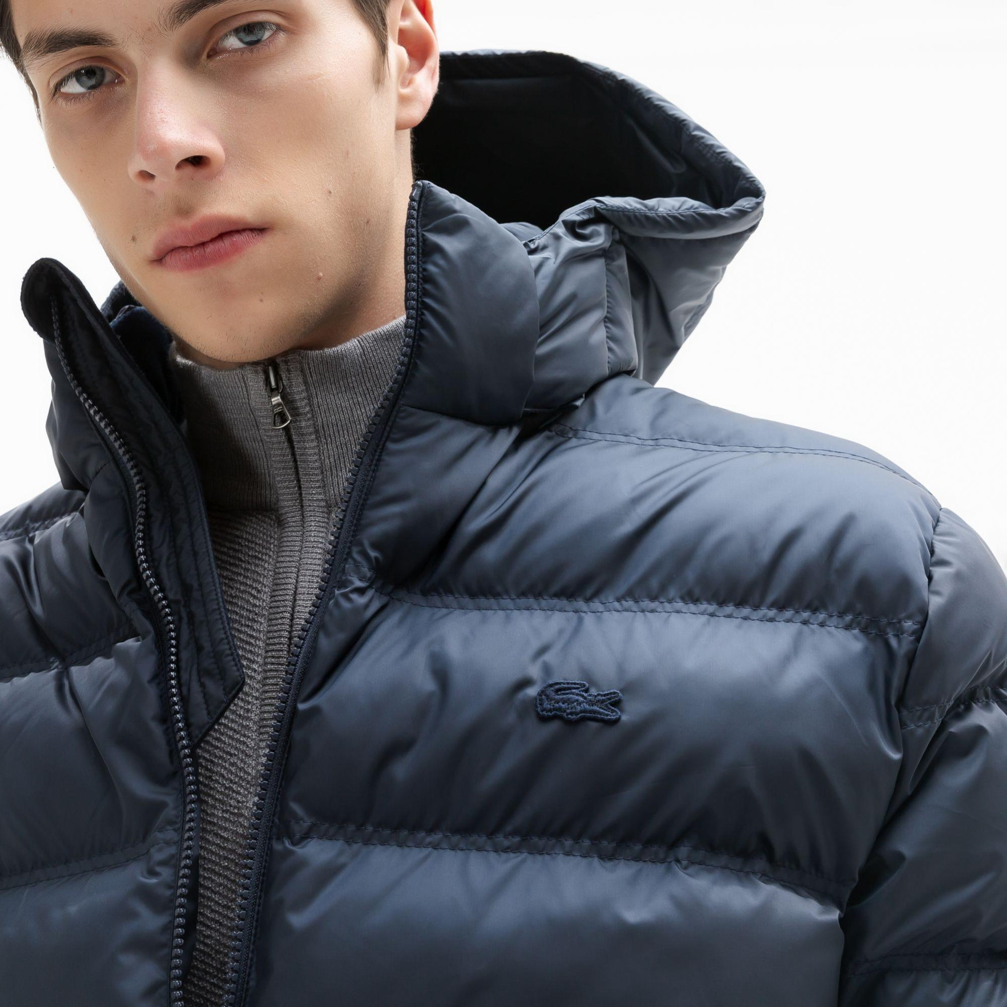 Lacoste Men's Water-Resistant Quilted Hooded Short Puffy Jacket